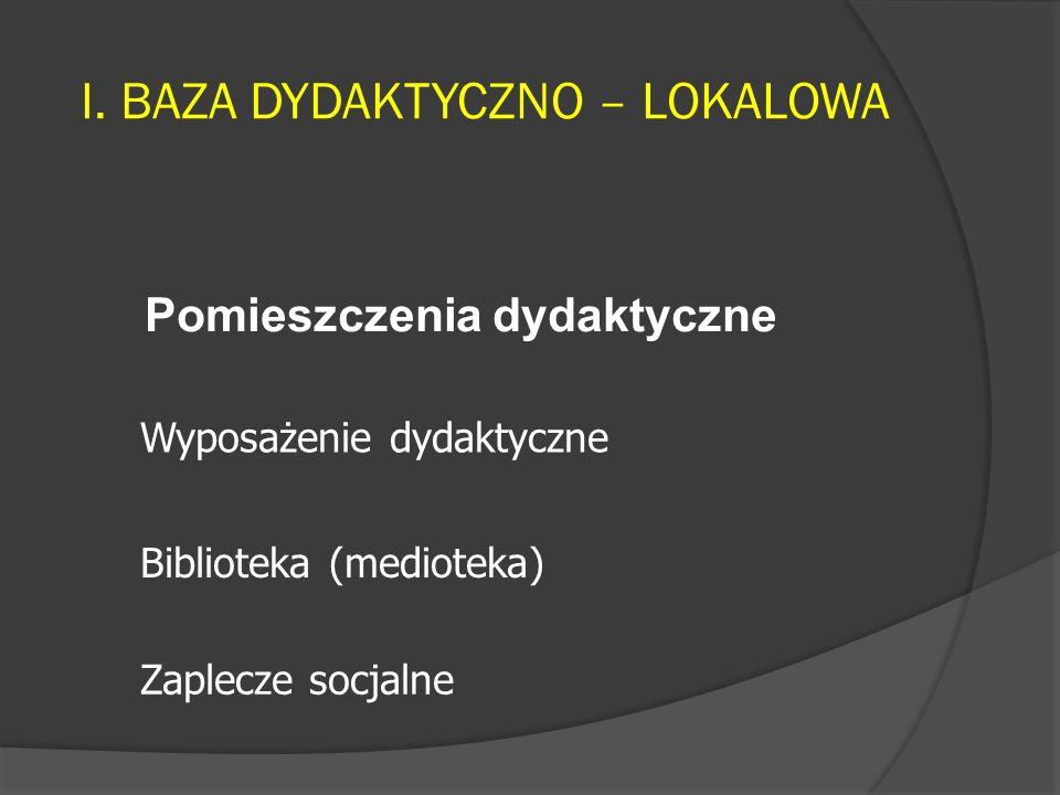 I. BAZA DYDAKTYCZNO – LOKALOWA Pomieszczenia dydaktyczne Wyposażenie dydaktyczne Zaplecze socjalne Biblioteka (medioteka)
