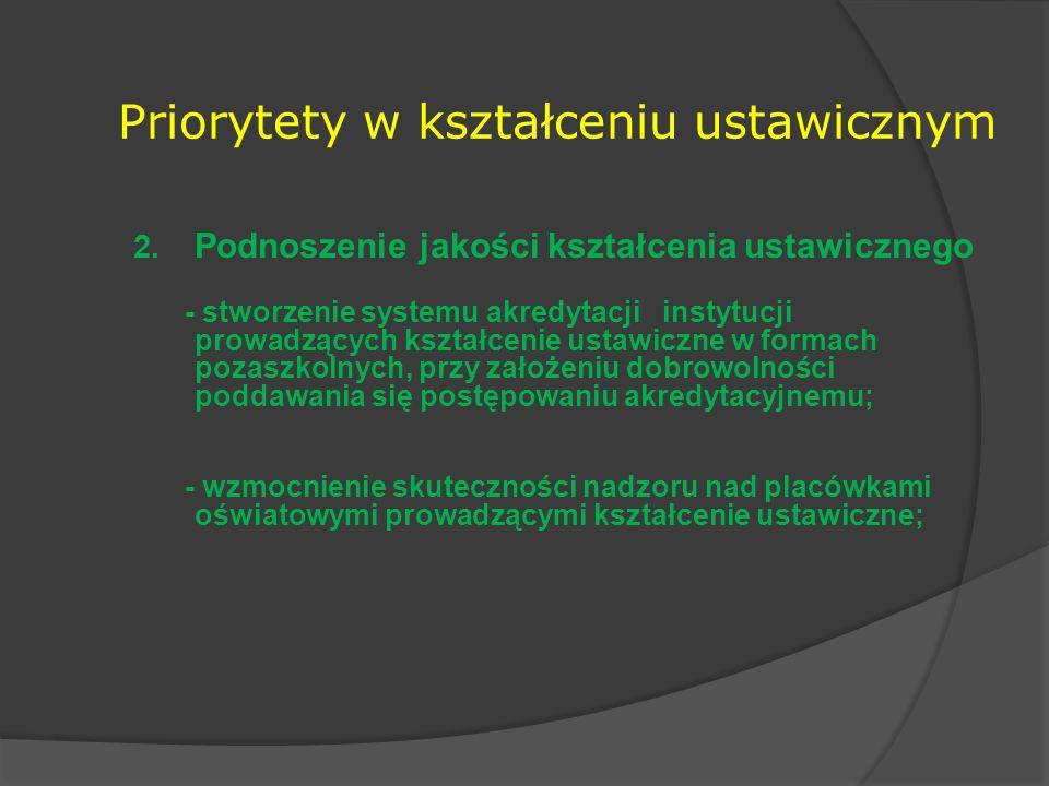 Priorytety w kształceniu ustawicznym 2. Podnoszenie jakości kształcenia ustawicznego - stworzenie systemu akredytacji instytucji prowadzących kształce