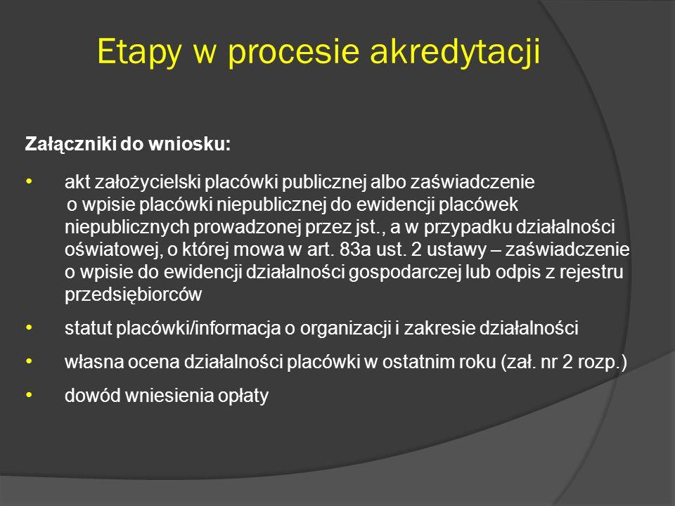 Etapy w procesie akredytacji Załączniki do wniosku: akt założycielski placówki publicznej albo zaświadczenie o wpisie placówki niepublicznej do ewiden