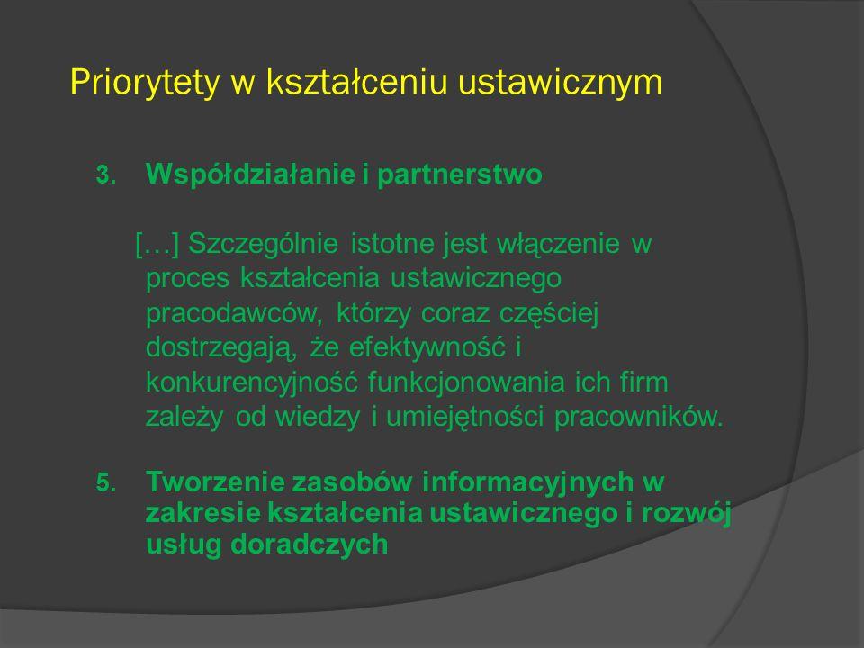 Priorytety w kształceniu ustawicznym 3. Współdziałanie i partnerstwo […] Szczególnie istotne jest włączenie w proces kształcenia ustawicznego pracodaw