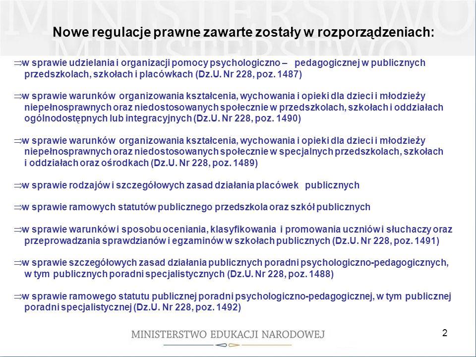 2 Nowe regulacje prawne zawarte zostały w rozporządzeniach: w sprawie udzielania i organizacji pomocy psychologiczno – pedagogicznej w publicznych prz