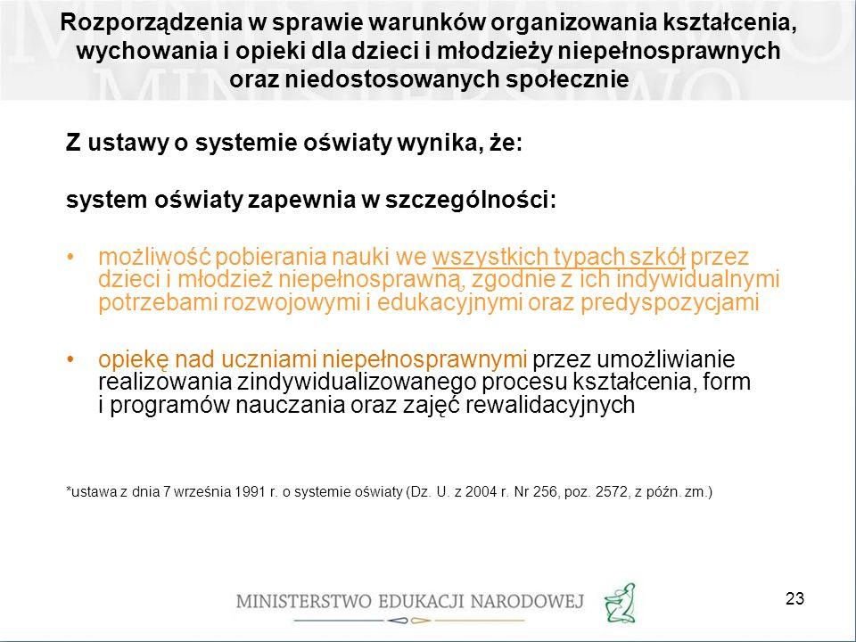 23 Rozporządzenia w sprawie warunków organizowania kształcenia, wychowania i opieki dla dzieci i młodzieży niepełnosprawnych oraz niedostosowanych spo