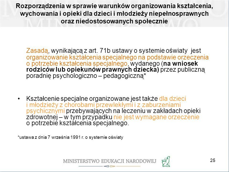 25 Rozporządzenia w sprawie warunków organizowania kształcenia, wychowania i opieki dla dzieci i młodzieży niepełnosprawnych oraz niedostosowanych spo