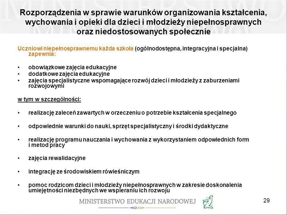 29 Rozporządzenia w sprawie warunków organizowania kształcenia, wychowania i opieki dla dzieci i młodzieży niepełnosprawnych oraz niedostosowanych spo