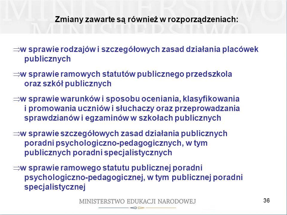 36 Zmiany zawarte są również w rozporządzeniach: w sprawie rodzajów i szczegółowych zasad działania placówek publicznych w sprawie ramowych statutów p