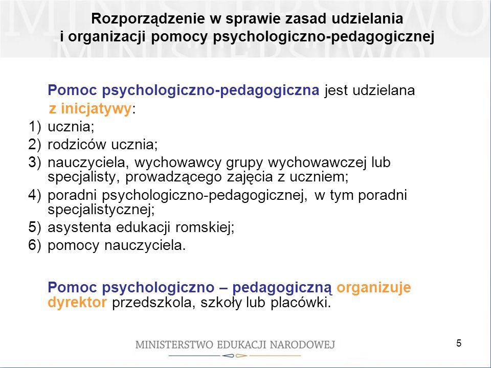 6 W szkole pomoc psychologiczno-pedagogiczna jest organizowana i udzielana w formie: uczniom klas terapeutycznych (z wyjątkiem szkół specjalnych); zajęć rozwijających uzdolnienia; zajęć dydaktyczno-wyrównawczych; zajęć specjalistycznych: korekcyjno-kompensacyjnych, logopedycznych, socjoterapeutycznych oraz innych zajęć o charakterze terapeutycznym; zajęć związanych z wyborem kierunku kształcenia i zawodu oraz planowaniem kształcenia i kariery zawodowej; porad i konsultacji.