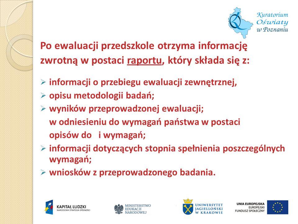 Po ewaluacji przedszkole otrzyma informację zwrotną w postaci raportu, który składa się z: informacji o przebiegu ewaluacji zewnętrznej, opisu metodol