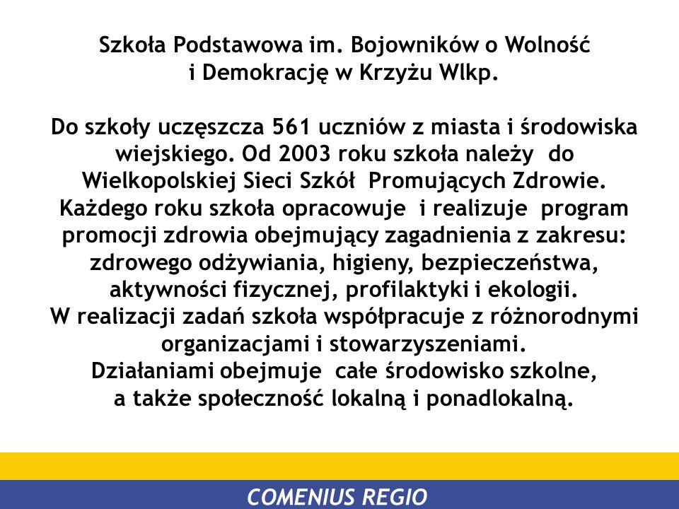 Szkoła Podstawowa im. Bojowników o Wolność i Demokrację w Krzyżu Wlkp. Do szkoły uczęszcza 561 uczniów z miasta i środowiska wiejskiego. Od 2003 roku