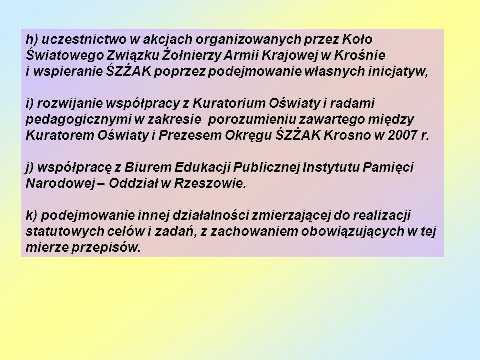 h) uczestnictwo w akcjach organizowanych przez Koło Światowego Związku Żołnierzy Armii Krajowej w Krośnie i wspieranie ŚZŻAK poprzez podejmowanie włas