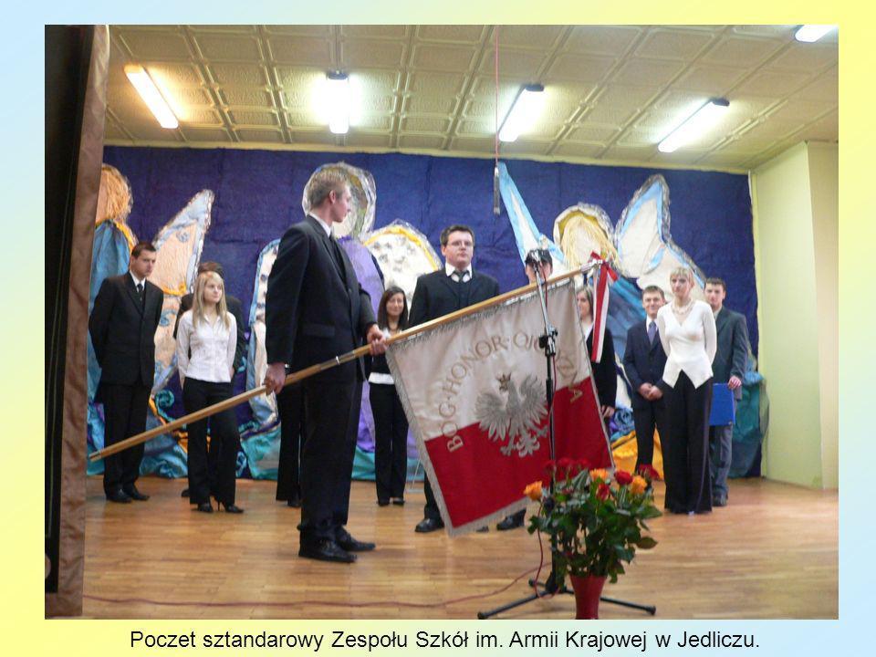 Poczet sztandarowy Zespołu Szkół im. Armii Krajowej w Jedliczu.