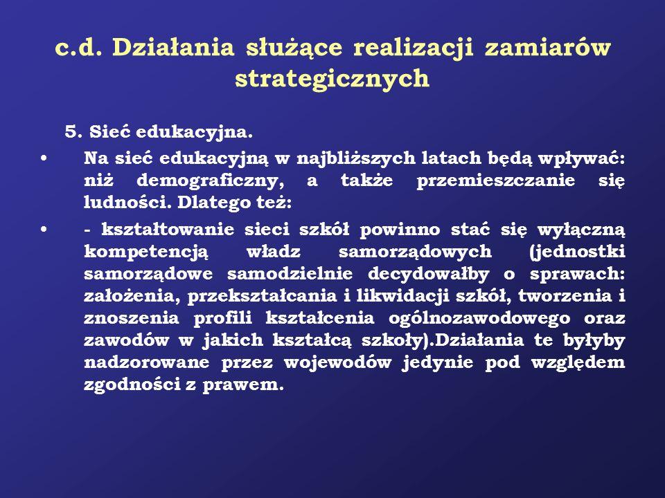 c.d. Działania służące realizacji zamiarów strategicznych 5. Sieć edukacyjna. Na sieć edukacyjną w najbliższych latach będą wpływać: niż demograficzny