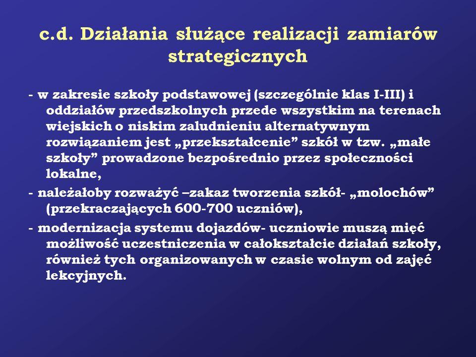 c.d. Działania służące realizacji zamiarów strategicznych - w zakresie szkoły podstawowej (szczególnie klas I-III) i oddziałów przedszkolnych przede w