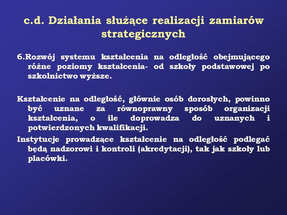 c.d. Działania służące realizacji zamiarów strategicznych 6.Rozwój systemu kształcenia na odległość obejmującego różne poziomy kształcenia- od szkoły