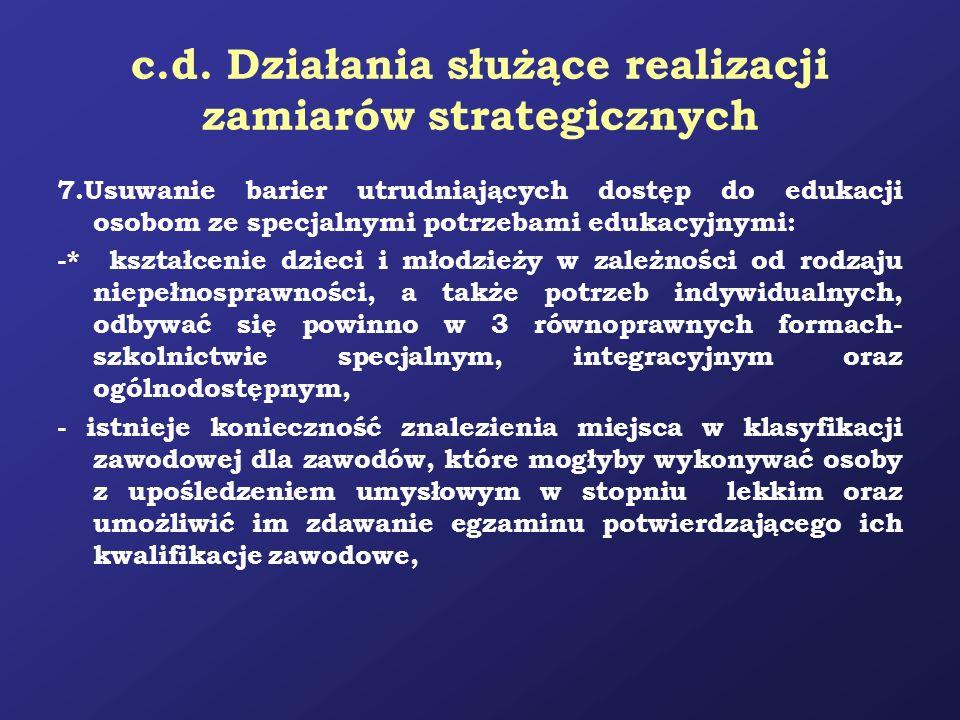c.d. Działania służące realizacji zamiarów strategicznych 7.Usuwanie barier utrudniających dostęp do edukacji osobom ze specjalnymi potrzebami edukacy