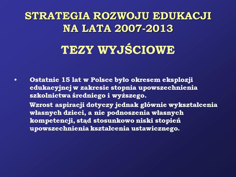 STRATEGIA ROZWOJU EDUKACJI NA LATA 2007-2013 TEZY WYJŚCIOWE Ostatnie 15 lat w Polsce było okresem eksplozji edukacyjnej w zakresie stopnia upowszechni