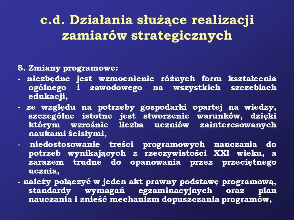 c.d. Działania służące realizacji zamiarów strategicznych 8. Zmiany programowe: - niezbędne jest wzmocnienie różnych form kształcenia ogólnego i zawod
