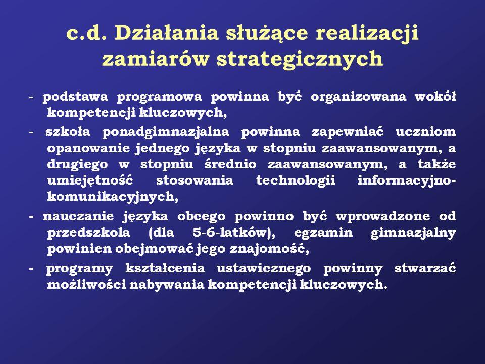 c.d. Działania służące realizacji zamiarów strategicznych - podstawa programowa powinna być organizowana wokół kompetencji kluczowych, - szkoła ponadg
