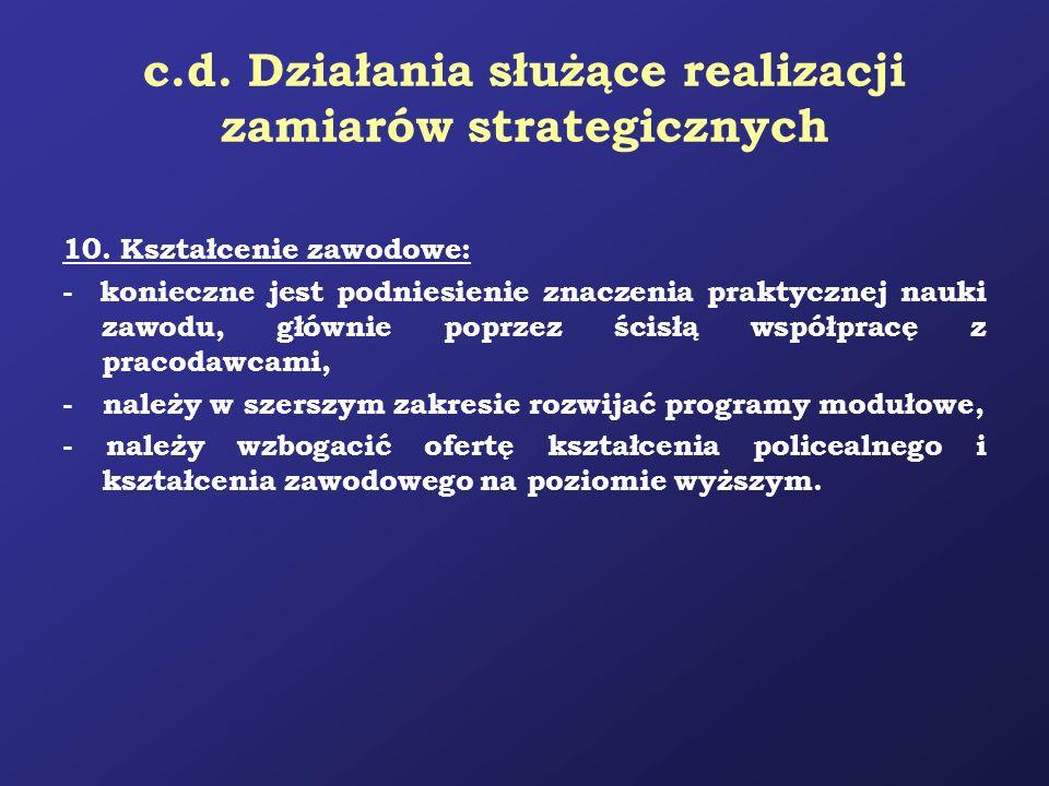 c.d. Działania służące realizacji zamiarów strategicznych 10. Kształcenie zawodowe: - konieczne jest podniesienie znaczenia praktycznej nauki zawodu,