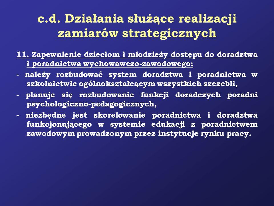 c.d. Działania służące realizacji zamiarów strategicznych 11. Zapewnienie dzieciom i młodzieży dostępu do doradztwa i poradnictwa wychowawczo-zawodowe