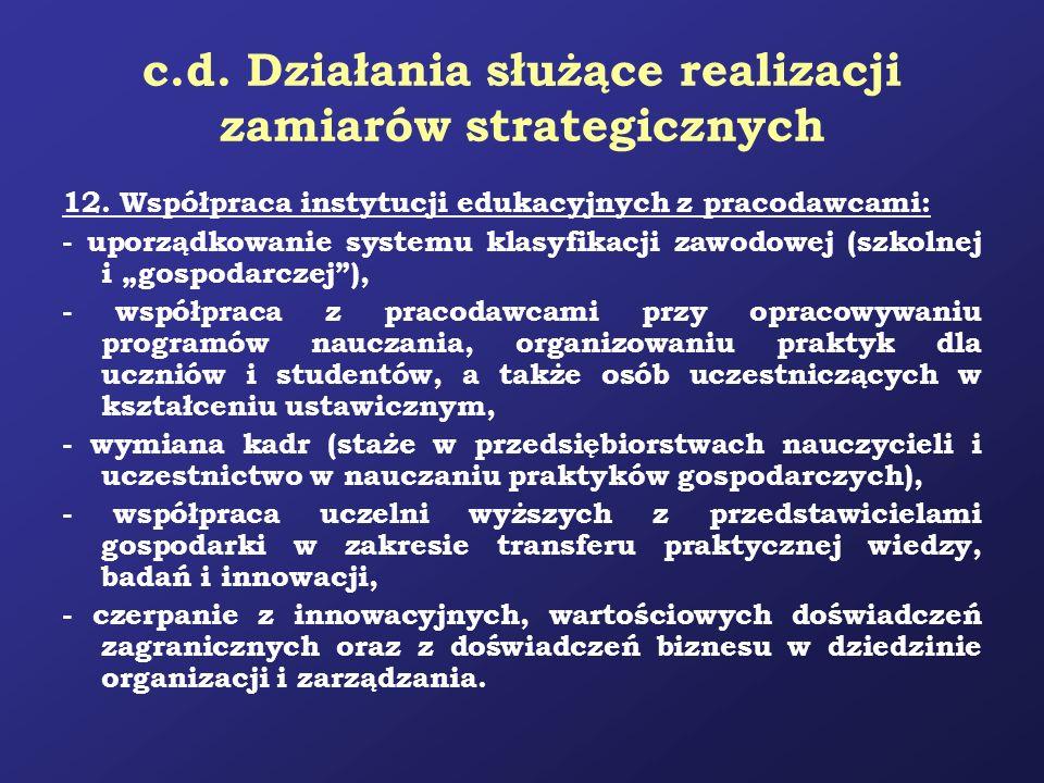 c.d. Działania służące realizacji zamiarów strategicznych 12. Współpraca instytucji edukacyjnych z pracodawcami: - uporządkowanie systemu klasyfikacji