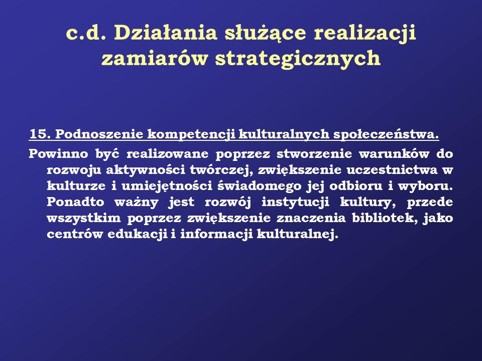 c.d. Działania służące realizacji zamiarów strategicznych 15. Podnoszenie kompetencji kulturalnych społeczeństwa. Powinno być realizowane poprzez stwo