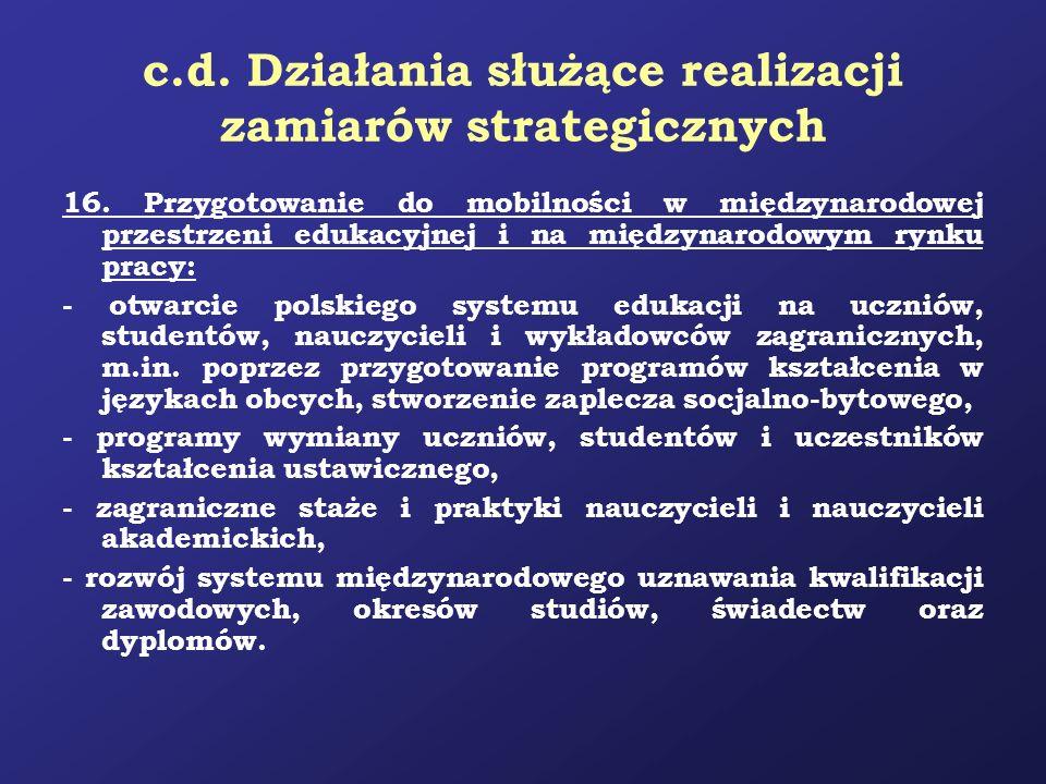 c.d. Działania służące realizacji zamiarów strategicznych 16. Przygotowanie do mobilności w międzynarodowej przestrzeni edukacyjnej i na międzynarodow