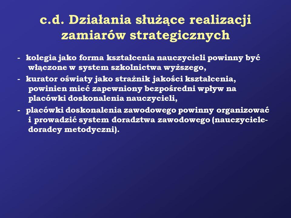 c.d. Działania służące realizacji zamiarów strategicznych - kolegia jako forma kształcenia nauczycieli powinny być włączone w system szkolnictwa wyższ