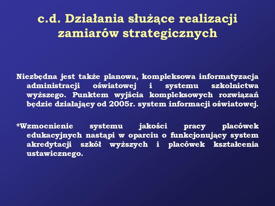 c.d. Działania służące realizacji zamiarów strategicznych Niezbędna jest także planowa, kompleksowa informatyzacja administracji oświatowej i systemu