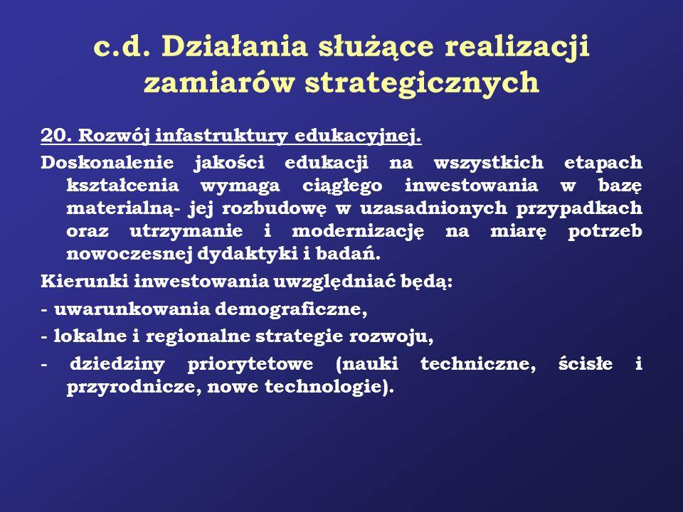c.d. Działania służące realizacji zamiarów strategicznych 20. Rozwój infastruktury edukacyjnej. Doskonalenie jakości edukacji na wszystkich etapach ks