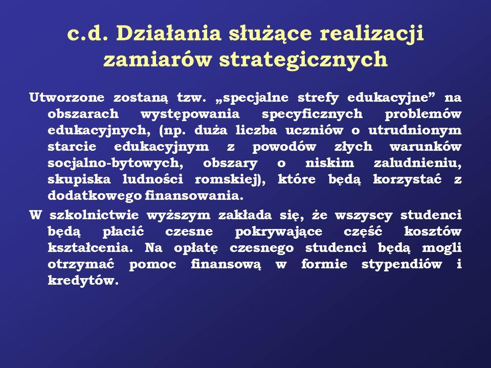 c.d. Działania służące realizacji zamiarów strategicznych Utworzone zostaną tzw. specjalne strefy edukacyjne na obszarach występowania specyficznych p