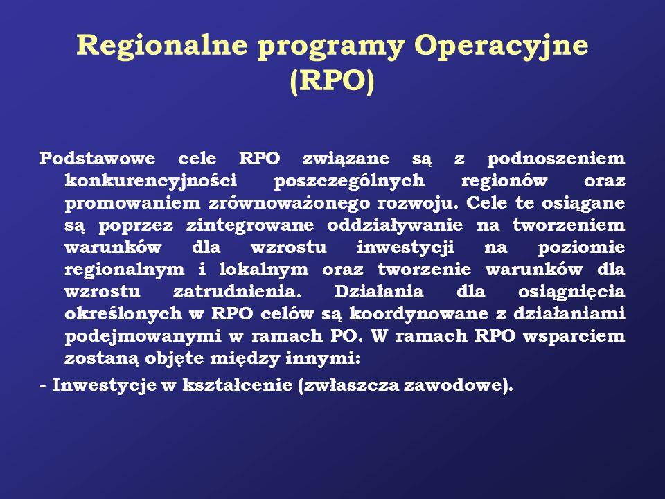 Regionalne programy Operacyjne (RPO) Podstawowe cele RPO związane są z podnoszeniem konkurencyjności poszczególnych regionów oraz promowaniem zrównowa