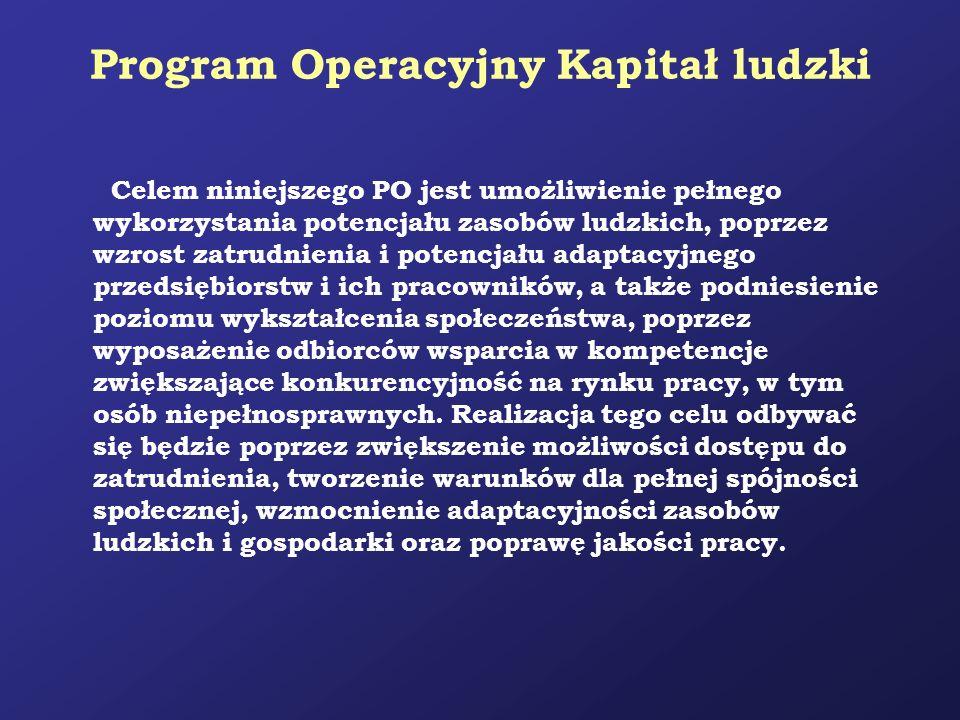 Program Operacyjny Kapitał ludzki Celem niniejszego PO jest umożliwienie pełnego wykorzystania potencjału zasobów ludzkich, poprzez wzrost zatrudnieni