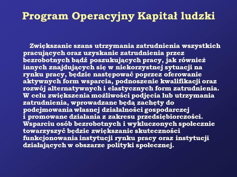 Program Operacyjny Kapitał ludzki Zwiększanie szans utrzymania zatrudnienia wszystkich pracujących oraz uzyskanie zatrudnienia przez bezrobotnych bądź
