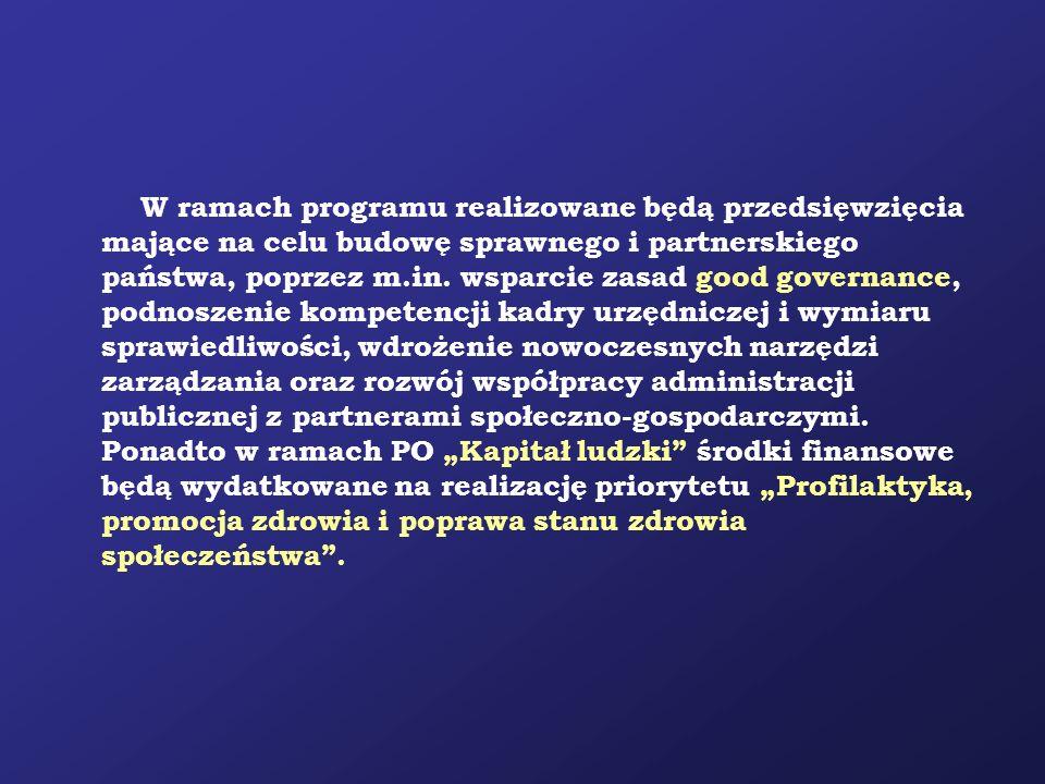 W ramach programu realizowane będą przedsięwzięcia mające na celu budowę sprawnego i partnerskiego państwa, poprzez m.in. wsparcie zasad good governan