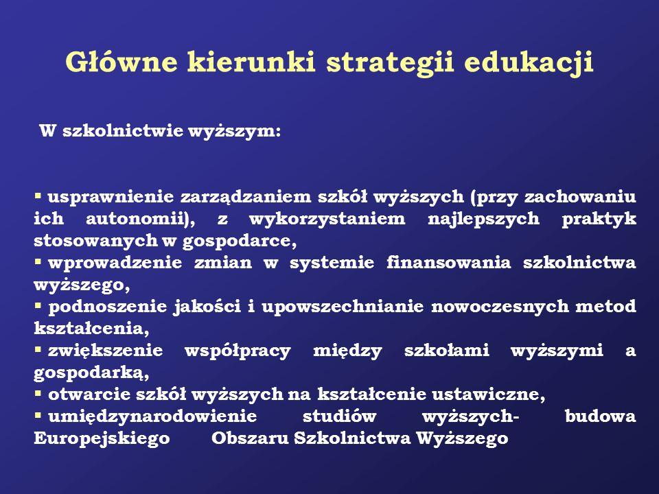 Główne kierunki strategii edukacji W szkolnictwie wyższym: usprawnienie zarządzaniem szkół wyższych (przy zachowaniu ich autonomii), z wykorzystaniem