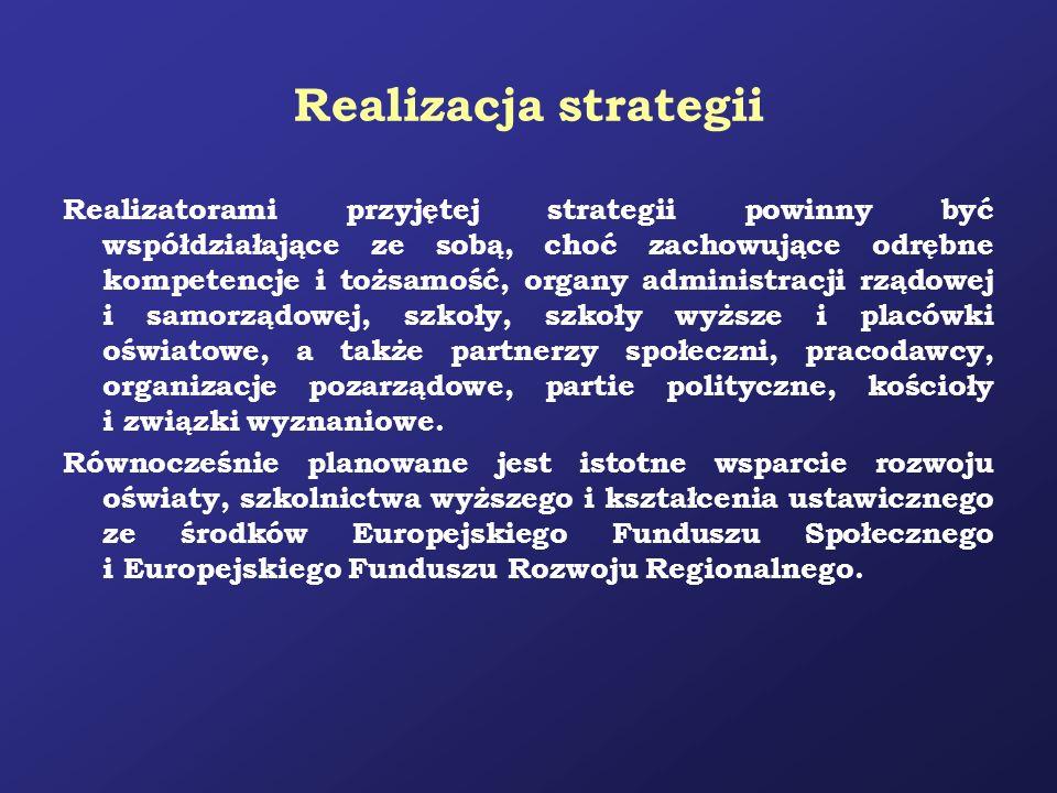 Realizacja strategii Realizatorami przyjętej strategii powinny być współdziałające ze sobą, choć zachowujące odrębne kompetencje i tożsamość, organy a