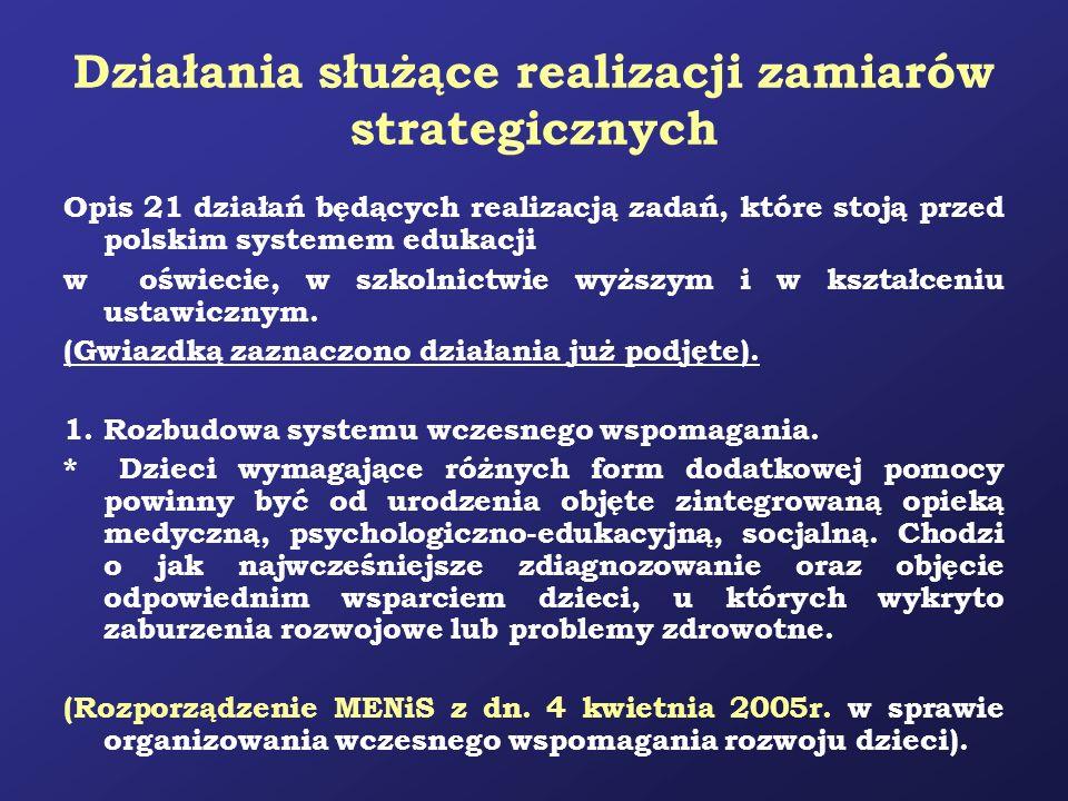 Działania służące realizacji zamiarów strategicznych Opis 21 działań będących realizacją zadań, które stoją przed polskim systemem edukacji w oświecie