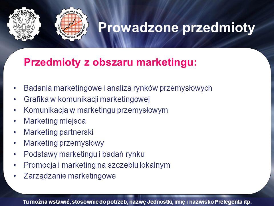 Tu można wstawić, stosownie do potrzeb, nazwę Jednostki, imię i nazwisko Prelegenta itp. Prowadzone przedmioty Przedmioty z obszaru marketingu: Badani