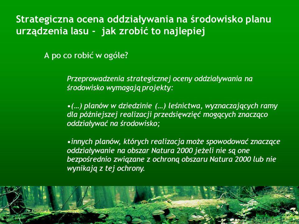 Strategiczna ocena oddziaływania na środowisko planu urządzenia lasu - jak zrobić to najlepiej A po co robić w ogóle? Przeprowadzenia strategicznej oc