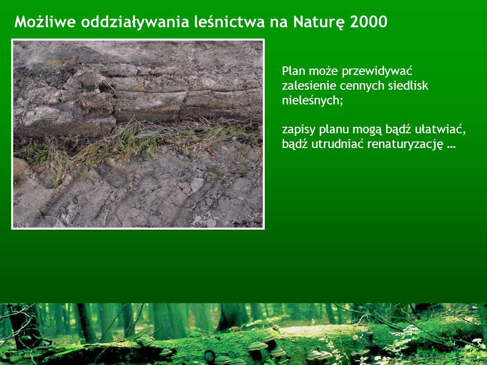Możliwe oddziaływania leśnictwa na Naturę 2000 Plan może przewidywać zalesienie cennych siedlisk nieleśnych; zapisy planu mogą bądź ułatwiać, bądź utr
