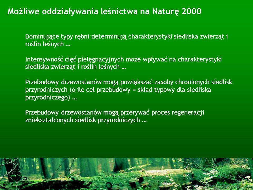 Możliwe oddziaływania leśnictwa na Naturę 2000 Dominujące typy rębni determinują charakterystyki siedliska zwierząt i roślin leśnych … Intensywność ci