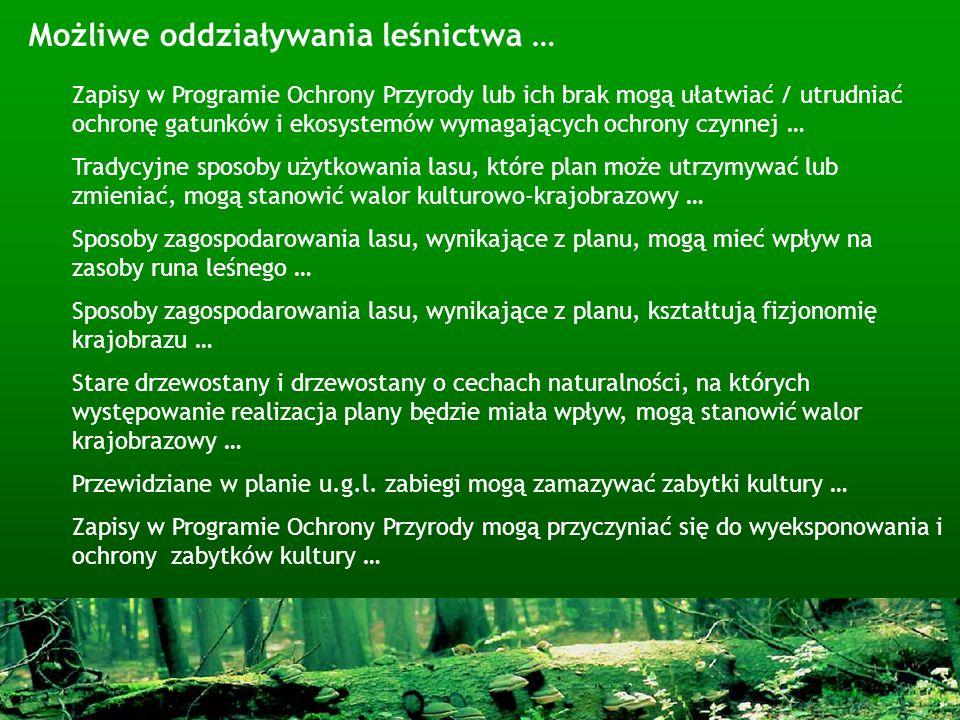 Możliwe oddziaływania leśnictwa … Zapisy w Programie Ochrony Przyrody lub ich brak mogą ułatwiać / utrudniać ochronę gatunków i ekosystemów wymagający