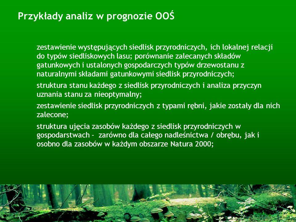 Przykłady analiz w prognozie OOŚ zestawienie występujących siedlisk przyrodniczych, ich lokalnej relacji do typów siedliskowych lasu; porównanie zalec