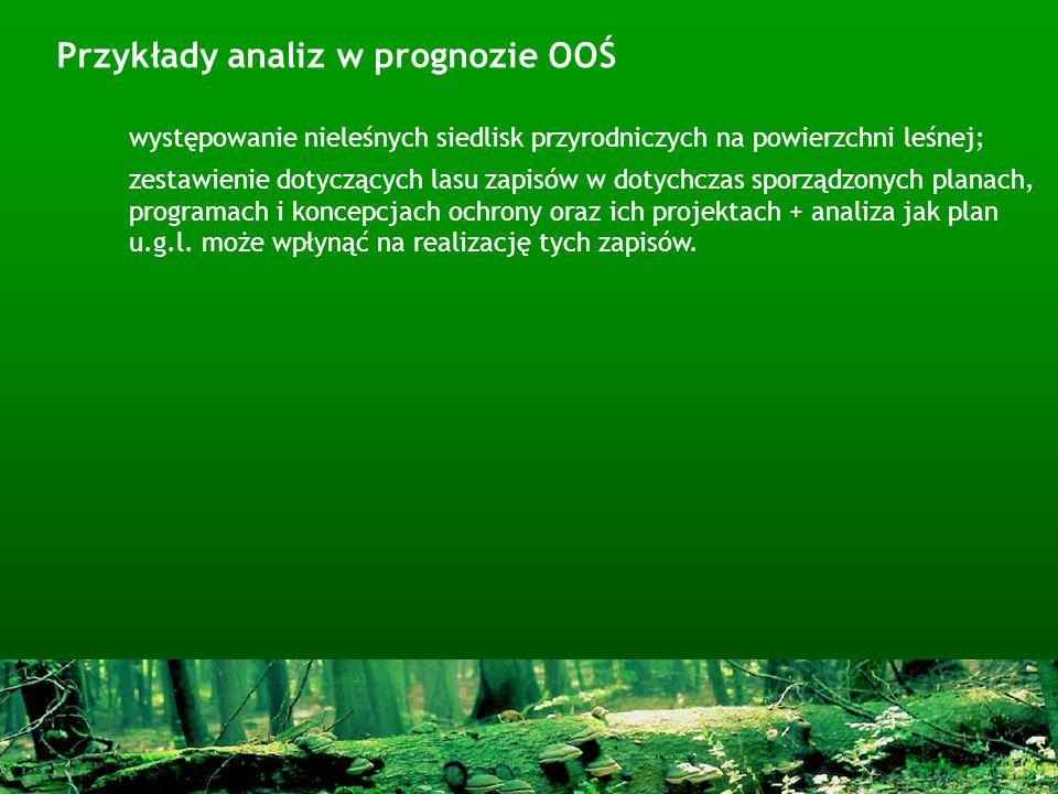 występowanie nieleśnych siedlisk przyrodniczych na powierzchni leśnej; zestawienie dotyczących lasu zapisów w dotychczas sporządzonych planach, progra