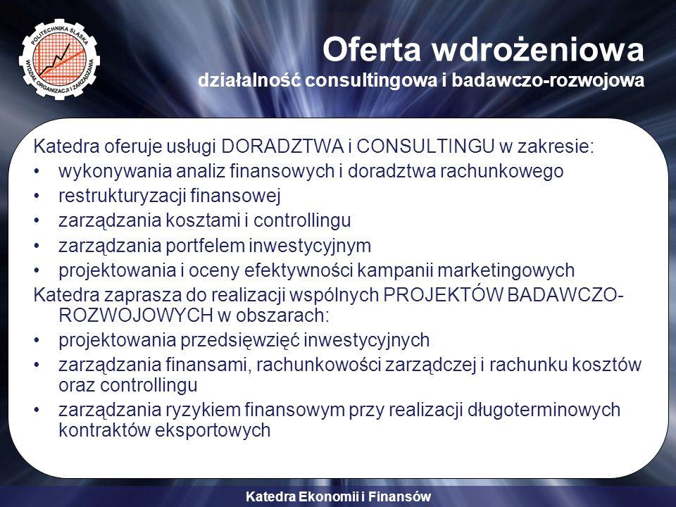 Katedra Ekonomii i Finansów Oferta wdrożeniowa działalność consultingowa i badawczo-rozwojowa Katedra oferuje usługi DORADZTWA i CONSULTINGU w zakresi