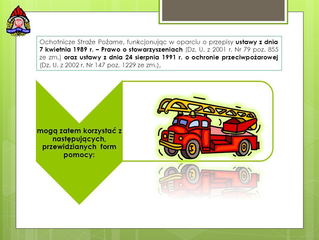 Ochotnicze Straże Pożarne, funkcjonując w oparciu o przepisy ustawy z dnia 7 kwietnia 1989 r. – Prawo o stowarzyszeniach (Dz. U. z 2001 r. Nr 79 poz.