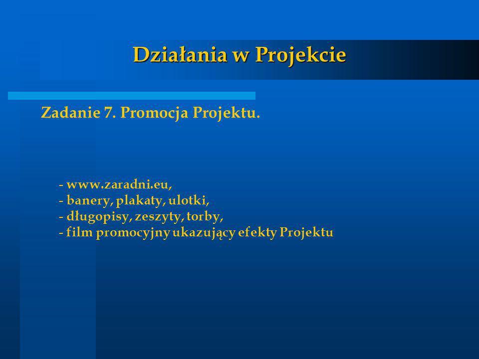 Działania w Projekcie Zadanie 7. Promocja Projektu. - www.zaradni.eu, - banery, plakaty, ulotki, - długopisy, zeszyty, torby, - film promocyjny ukazuj