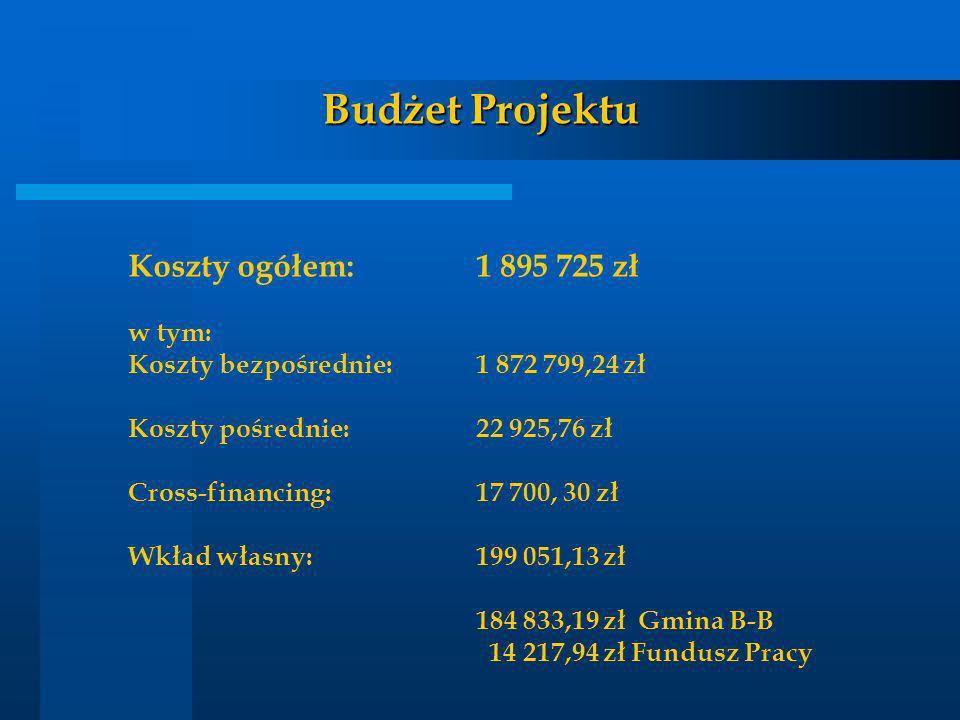 Budżet Projektu Koszty ogółem:1 895 725 zł w tym: Koszty bezpośrednie:1 872 799,24 zł Koszty pośrednie:22 925,76 zł Cross-financing:17 700, 30 zł Wkła