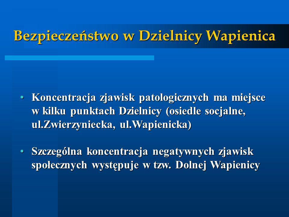 Bezpieczeństwo w Dzielnicy Wapienica Koncentracja zjawisk patologicznych ma miejsce w kilku punktach Dzielnicy (osiedle socjalne, ul.Zwierzyniecka, ul