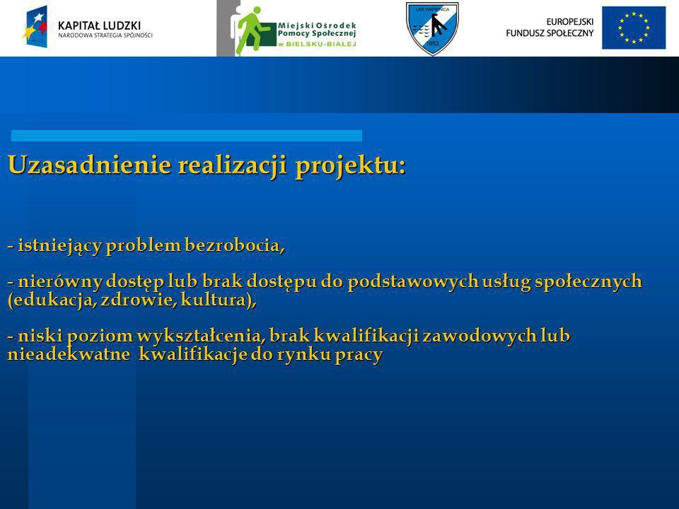 Uzasadnienie realizacji projektu: - istniejący problem bezrobocia, - nierówny dostęp lub brak dostępu do podstawowych usług społecznych (edukacja, zdr